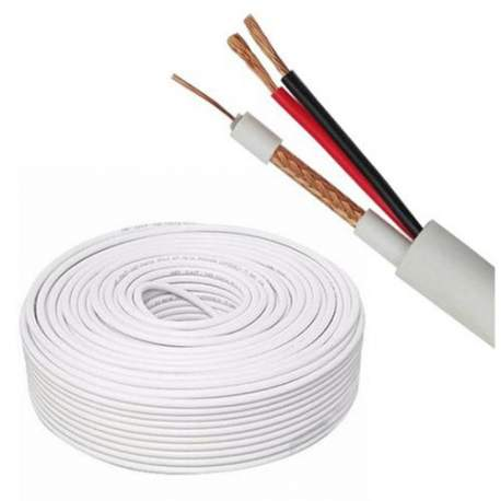 Cabo Coaxial Hd 40 +2x18 Awg Rolo 300 Mts Branco Pacific Network Muca3144