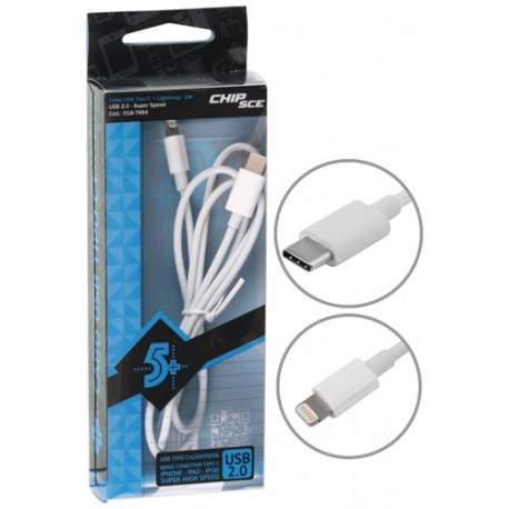 Cabo Usb Tipo C + Iphone Lightning 1 Mt Chip Sce 018-7484